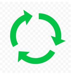 Recycling eco icon green circle arrow reuse bio vector
