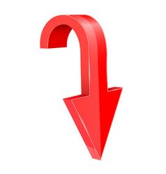 Red down arrow 3d element vector