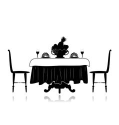 Restaurant little table vector