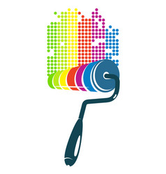 Roller for painting colorful vector