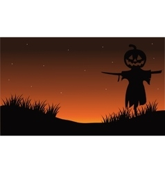 Scarecrow silhouette halloween backgrounds vector