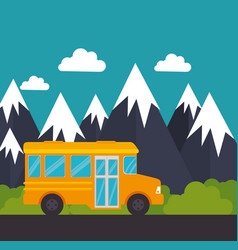 school bus snow mountain landscape vector image