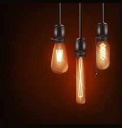 set 3d different shaped glowing light bulbs vector image