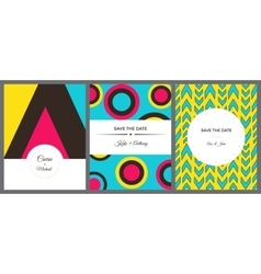 Set of colorful invitation cards vector image