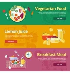Set of flat design concepts for vegetarian food vector image