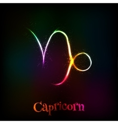 Shining neon zodiac Capricorn symbol vector