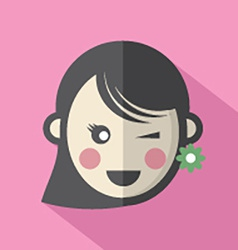 Single Womans Face Flat Design Icon vector image