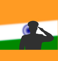 Solder silhouette on blur background with india vector