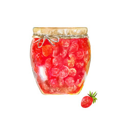 Strawberry jam traditional dessert with wild vector