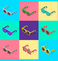 Sunglasses set isometric vector
