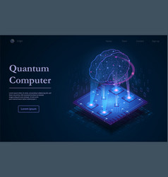 tech background with quantum computer text vector image