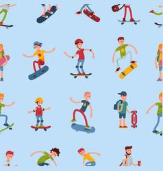 teenage skateboarding seamless pattern happy teens vector image