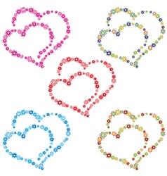 Two hearts composed colorful flowers vector