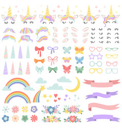 Unicorn constructor pony mane styling bundle vector