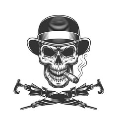 vintage monochrome skull in fedora hat vector image