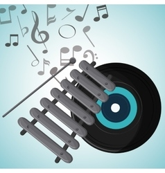 Vinyl music note sound media festival icon vector