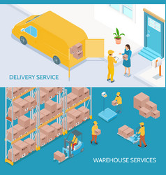 warehouse delivery services isometric banners vector image