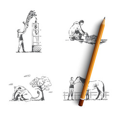wild animals rescue - people taking care vector image
