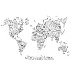 World map line art travel icons vector