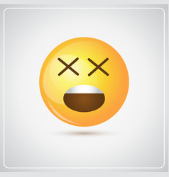 Yellow cartoon face shocked people emotion icon vector