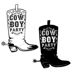 cowboy party hand drawn cowboy boots design vector image vector image