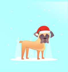 cute dog in red santas hat christmas puppy winter vector image vector image