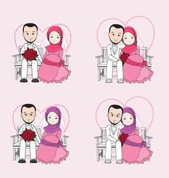 Muslim wedding couple cartoon vector image vector image
