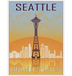Seattle Vintage Poster vector image