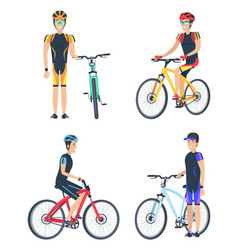 bicyclist smiling poster set vector image vector image
