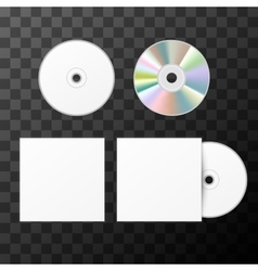Blank white compact disk from two sides and cover vector image vector image
