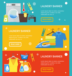 cartoon laundry banner horizontal set vector image vector image