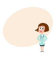 Comic woman doctor character with bob haircut vector