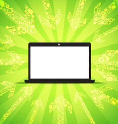 Media content goes to modern laptop vector image