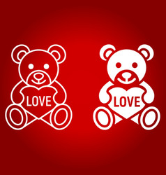 teddy bear with heart line and glyph icon vector image