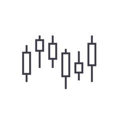 candlestick chart line icon sign vector image