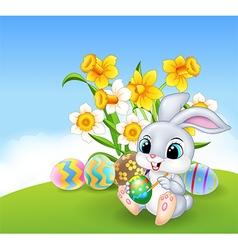 Cute little easter bunny painting an egg vector