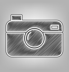 digital photo camera sign pencil sketch vector image vector image