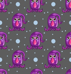 Seamless pattern with cute cartoon monsters-2 vector image
