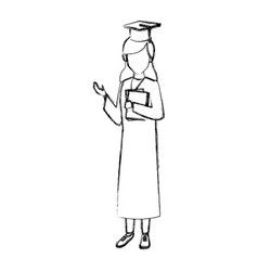 Student woman with graduation gown vector