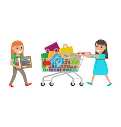 Two little girls out on shopping at supermarket vector
