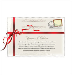 Old post card with Red ribbon vector image vector image