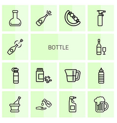 14 bottle icons vector