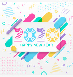 2020 happy new year greeting card with abstract vector