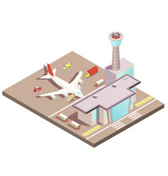 airport isometric design concept vector image
