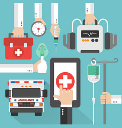 ambulance medical online design flat vector image