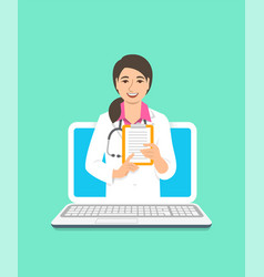Asian woman doctor online consultation concept vector