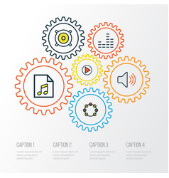 audio colorful outline icons set collection of vector image