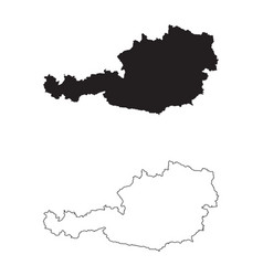 Austria country map black silhouette and outline vector