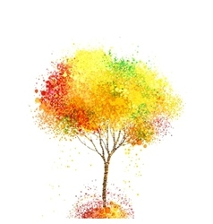 Autumn abstract tree forming by circles and blots vector