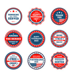 Badges to veterans day america patriotic labels vector